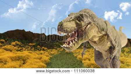 Dinosaur In Mountain Landscape