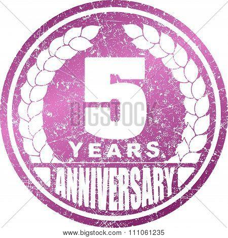 Vintage Anniversary 5 Years Round Grunge Round Stamp. Retro Styled Vector Illustration.