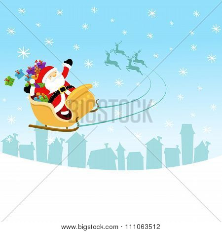 Santa Flying With Sleigh