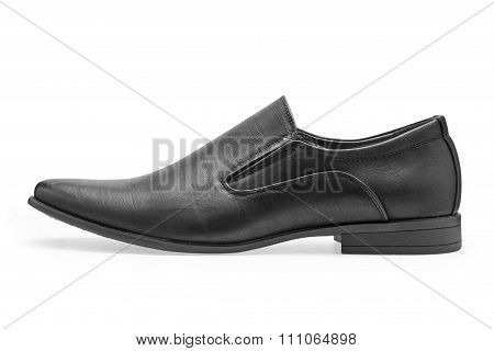 Single Of Classical Black Leather Shoes For Men, Without Shoelaces
