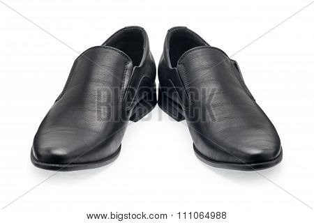 A Pair Of Classical Black Leather Shoes For Men, Without Shoelace