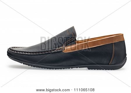 Single Leather Dark Blue Color Male Moccasins