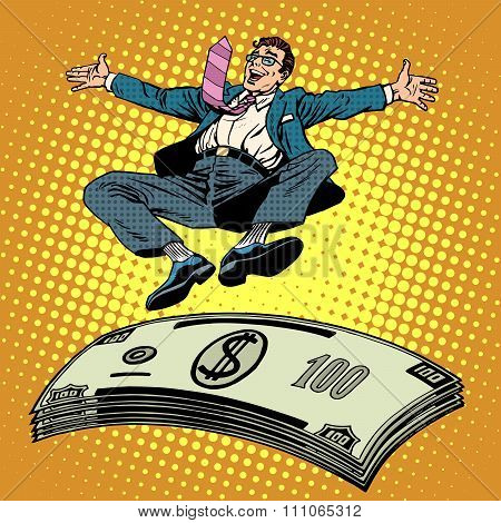 Business success businessman money trampoline