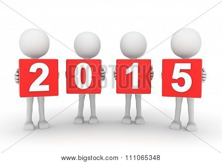 White 3D People Presenting Year 2015