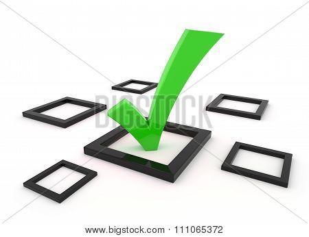 Green 3D Tick Symbol