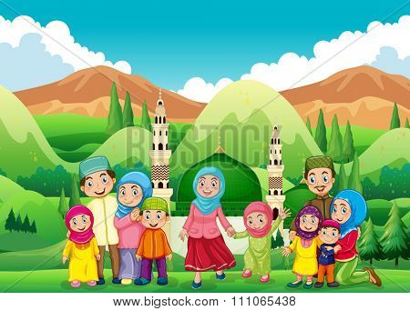 Muslim family at the mosque illustration