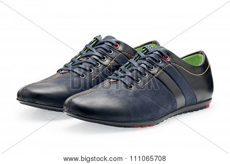 Pair Leather Dark Blue Color Male Sport Shoes With Shoelaces