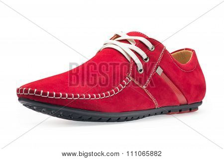 Single Leather Red Color Male Moccasins
