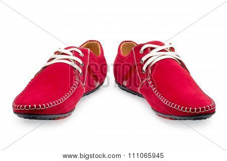 Pair Leather Red Color Male Moccasins
