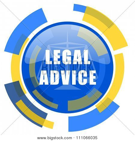 legal advice blue yellow glossy web icon