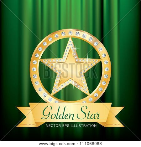 golden star with diamonds on golden circle stage with banner and green velvet