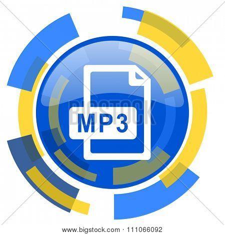 mp3 file blue yellow glossy web icon