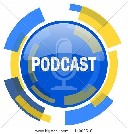 podcast blue yellow glossy web icon