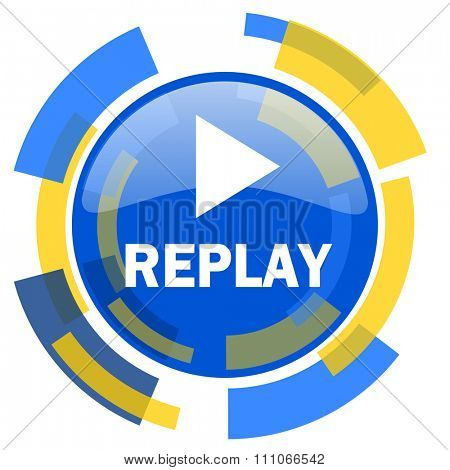 replay blue yellow glossy web icon
