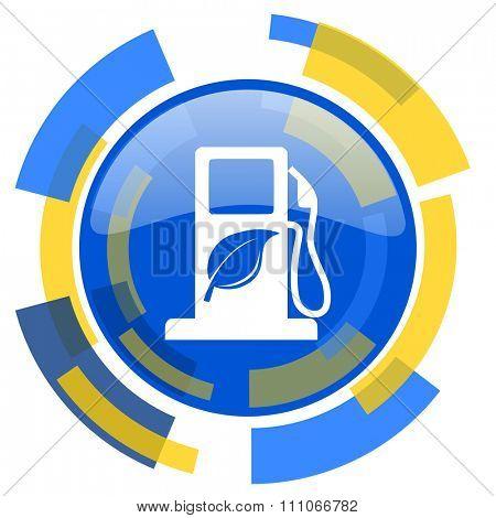 biofuel blue yellow glossy web icon