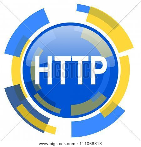 http blue yellow glossy web icon
