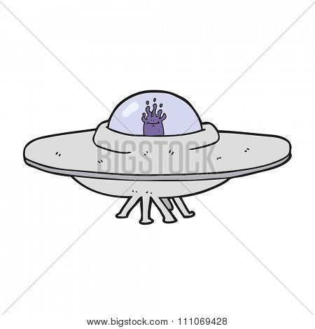 freehand drawn cartoon flying saucer