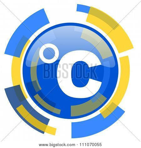 celsius blue yellow glossy web icon