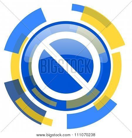access denied blue yellow glossy web icon