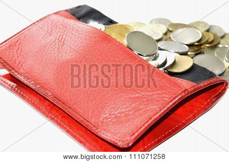 Red purse and coins