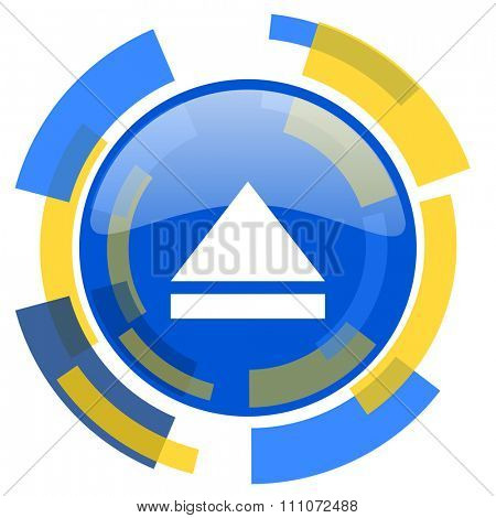 eject blue yellow glossy web icon
