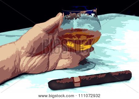 Illustration Of Hand Of A Man With A Cigar