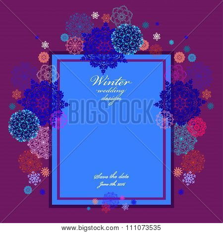 Winter wedding frame with red and blue snowflakes.