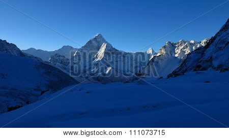 Sunrise In Zongla, View Of Mt Ama Dablam