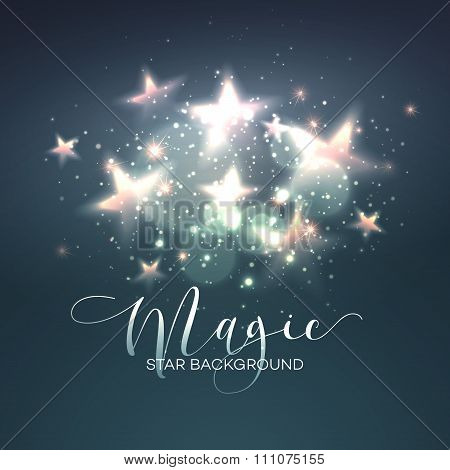 Defocused magic star background. Vector illustration