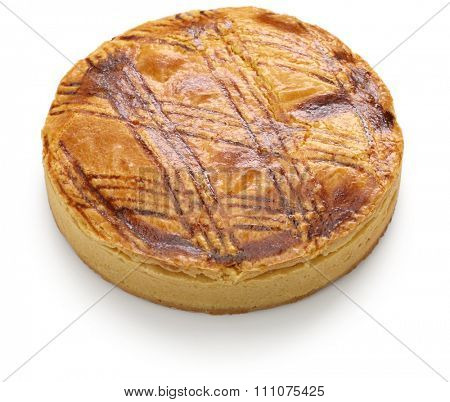homemade gateau basque isolated on white background