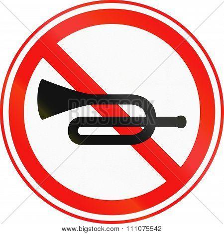 Obsolete Korean Traffic Sign - No Horn Honking