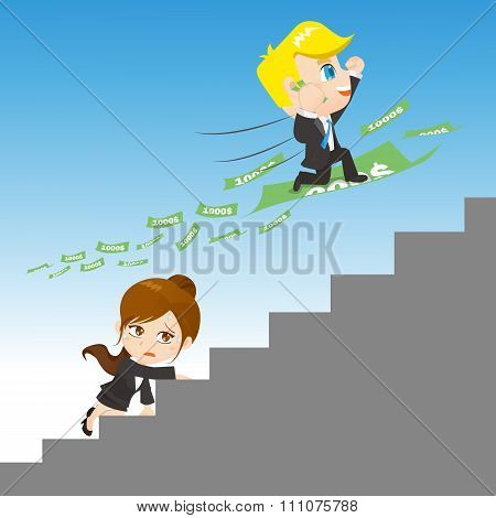 Cartoon Illustration Businesspeople Competing