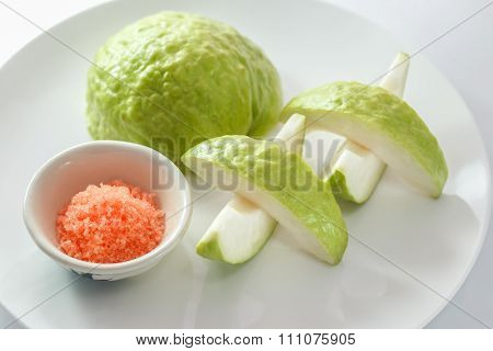 Fresh Organic Guava Fruit And Red Pepper And Salt Isolated On A White Background