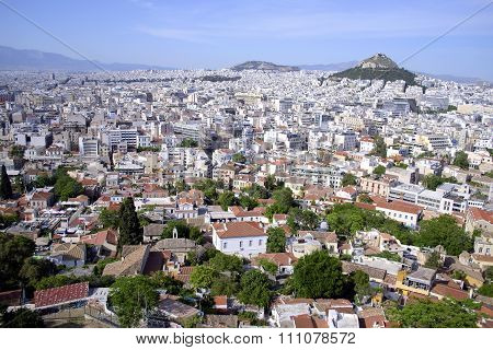 cityscape of Athens Greece Lycabettus mountain