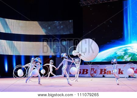 Minsk, Belarus December 05: Unidentified Gymnast From ' Usit' Participate With 'travel T