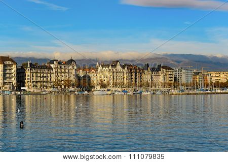 GENEVA, SWITZERLAND - NOVEMBER 19, 2015: view of Lake Geneva. Lake Geneva is a lake on the north side of the Alps, shared between Switzerland and France