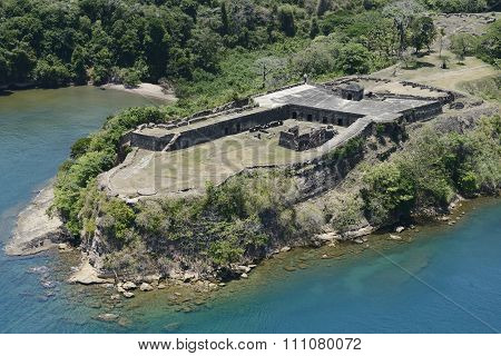 Aerial view of Fort Sherman at Toro Point, Panama Canal, Panama