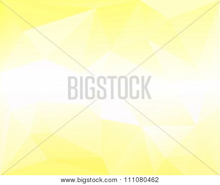 Yellow And White Polygonal Triangle Vector Background With Horizontal Center Gradient, Light And Pal