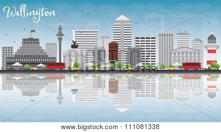 Wellington skyline with grey buildings, blue sky and reflections. Business travel and tourism concept with place for text. Image for presentation, banner, placard and web site.
