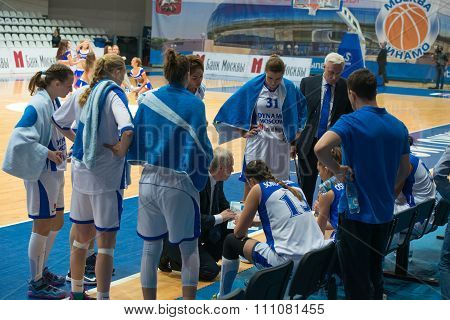 MOSCOW -- DECEMBER 4, 2014: Dynamo Moscow team on timeout on the International Europe bascketball league match Dynamo Moscow vs Maccabi Ashdod Israel in sport palace Krilatskoe, Moscow, Russia. Dynamo loss 59:67shdod Israel in sport palace Krilatskoe, Mos
