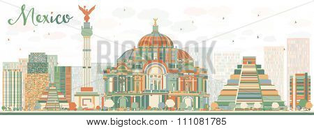 Abstract Mexico skyline with color landmarks. Business travel and tourism concept with historic buildings. Image for presentation, banner, placard and web site.