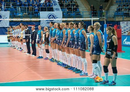 MOSCOW RUSSIA - DECEMBER 2, 2015: Team Dynamo before the game on women's Rissian volleyball Championship game Dynamo (MSC) vs Dynamo (KZN) at the Luzhniki stadium in Moscow Russia. Kazan won in serie 3: 2
