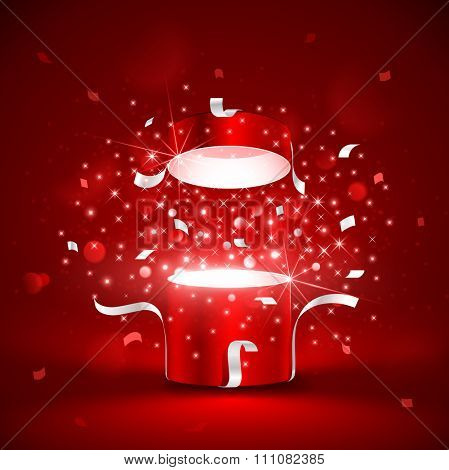 Magic red box with stars on red background. Vector illustration