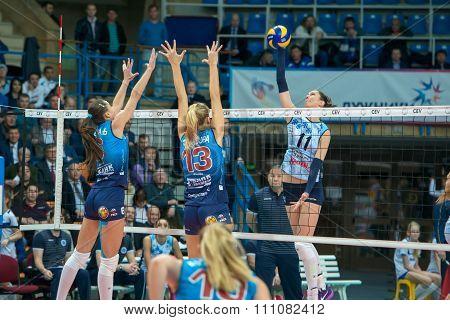 MOSCOW RUSSIA - DECEMBER 2, 2015: E. Gamova (Dynamo (MSC) 8 while playing on women's Rissian volleyball Championship game Dynamo (MSC) vs Dynamo (KZN) at the Luzhniki stadium in Moscow Russia. Kazan won in serie 3: 2