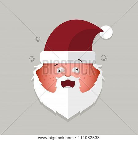 Flat Santa Claus Cheeky Emoticon. Vector Illustration.