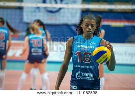 MOSCOW RUSSIA - DECEMBER 2,2015: Fernanda Garay Rodriguez (Dynamo (MSC) 16 while playing on women's Rissian volleyball Championship game Dynamo (MSC) vs Dynamo (KZN) at the Luzhniki stadium in Moscow Russia. Kazan won in serie 3: 2