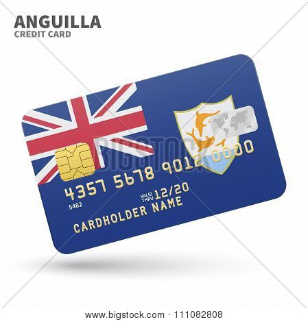 Credit card with Anguilla flag background for bank, presentations and business. Isolated on white