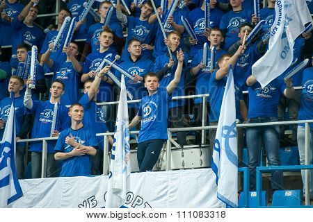 MOSCOW RUSSIA - DECEMBER 2, 2015: Fans of Dynamo Moscow during the game on women's Rissian volleyball Championship game Dynamo (MSC) vs Dynamo (KZN) at the Luzhniki stadium in Moscow Russia. Kazan won in serie 3: 2