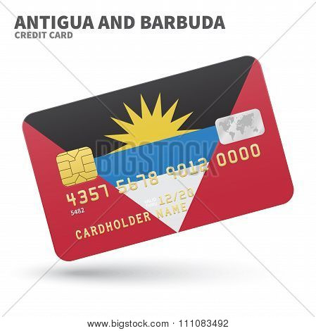 Credit card with Antigua and Barbuda flag background for bank, presentations, business. Isolated on