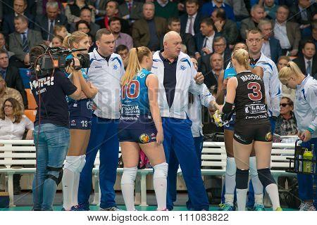 MOSCOW RUSSIA - DECEMBER 2, 2015: The head coach of Dynamo (MSC) Yury Panchenko on women's Rissian volleyball Championship game Dynamo (MSC) vs Dynamo (KZN) at the Luzhniki stadium in Moscow Russia. Kazan won in serie 3: 2